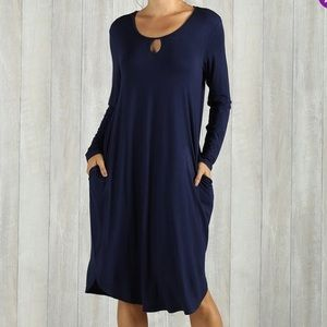 NWOT Simple Suzanne Betro Navy Blue Keyhole Dress